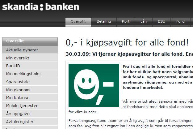 Skandiabanken fjerner kjøpsavgifter for alle fond